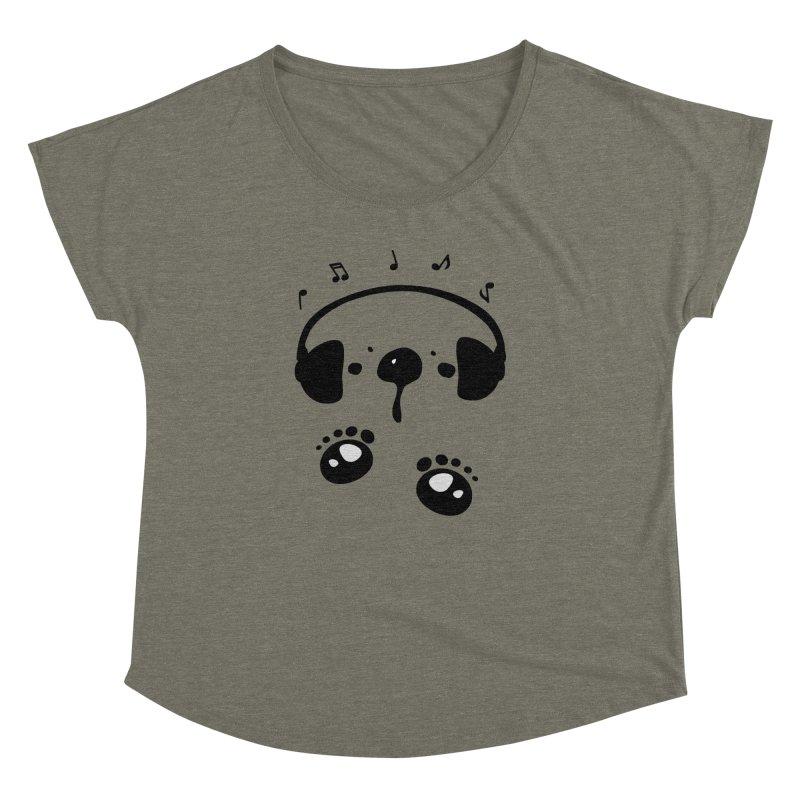 Panda bear love music Women's Dolman Scoop Neck by cindyshim's Artist Shop