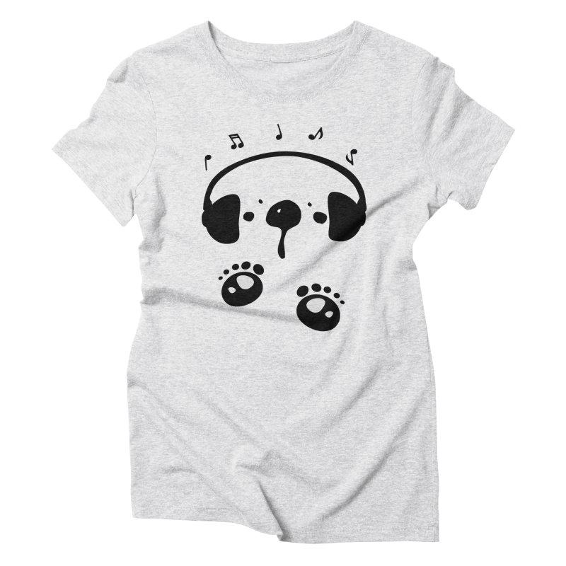 Panda bear love music Women's Triblend T-Shirt by cindyshim's Artist Shop