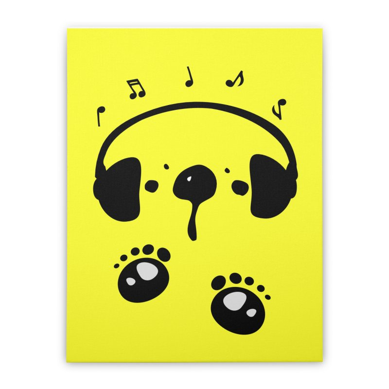 Panda bear love music Home Stretched Canvas by cindyshim's Artist Shop