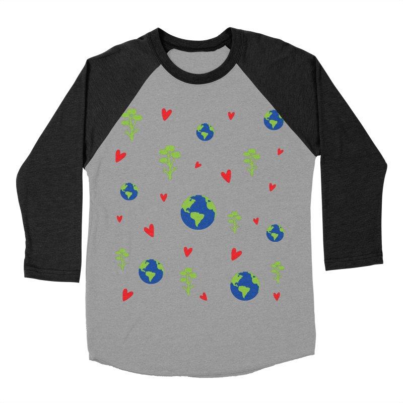 Love earth pattern Women's Baseball Triblend Longsleeve T-Shirt by cindyshim's Artist Shop