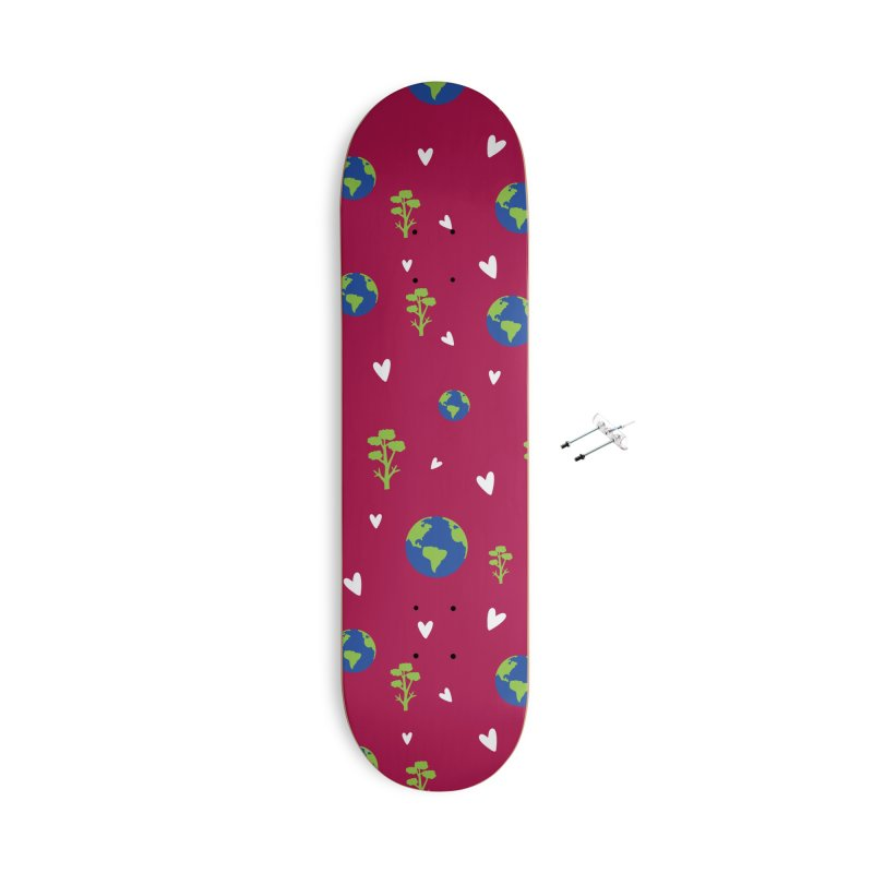 Love earth pattern Accessories With Hanging Hardware Skateboard by cindyshim's Artist Shop