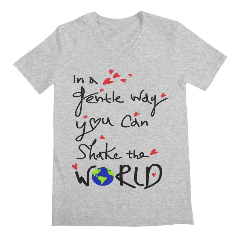 You can shake the world Men's Regular V-Neck by cindyshim's Artist Shop
