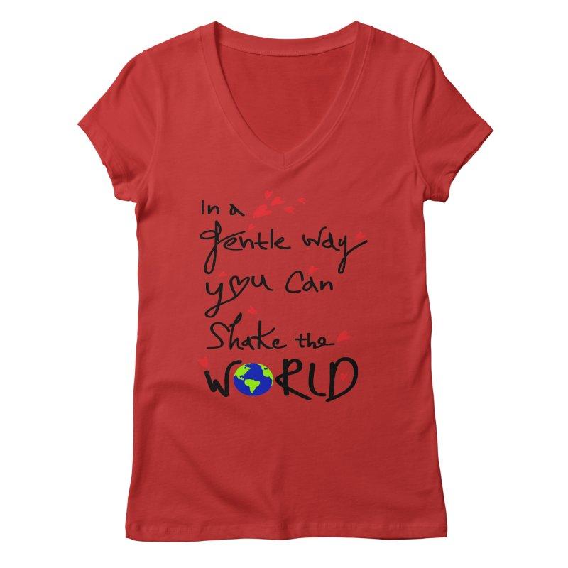 You can shake the world Women's Regular V-Neck by cindyshim's Artist Shop