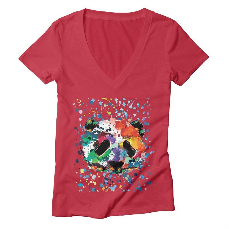 Splash Panda Women's Deep V-Neck V-Neck by cindyshim's Artist Shop