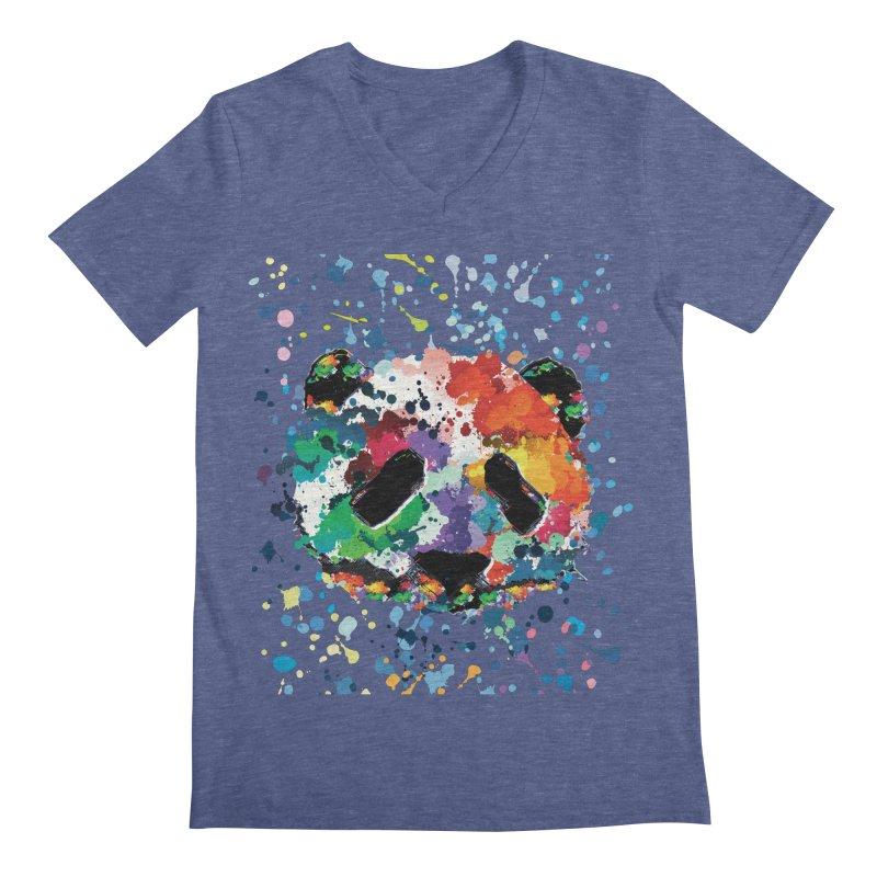 Splash Panda Men's Regular V-Neck by cindyshim's Artist Shop