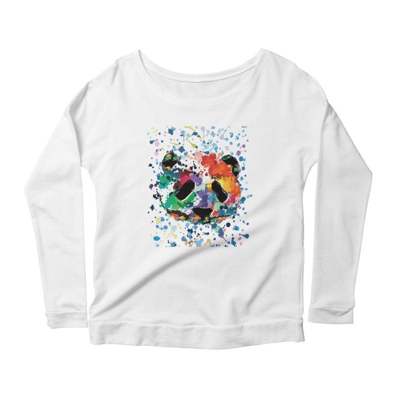 Splash Panda Women's Scoop Neck Longsleeve T-Shirt by cindyshim's Artist Shop