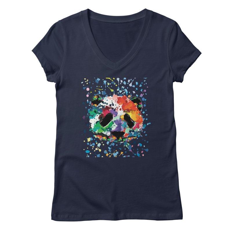 Splash Panda Women's Regular V-Neck by cindyshim's Artist Shop