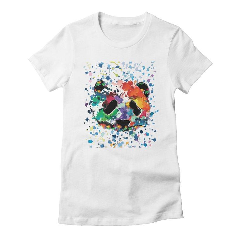 Splash Panda Women's Fitted T-Shirt by cindyshim's Artist Shop