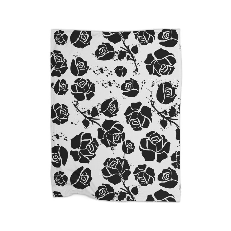 Black roses Home Fleece Blanket Blanket by cindyshim's Artist Shop