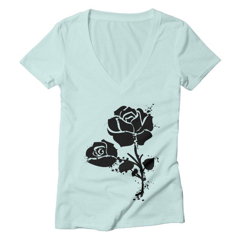 Black roses Women's Deep V-Neck V-Neck by cindyshim's Artist Shop