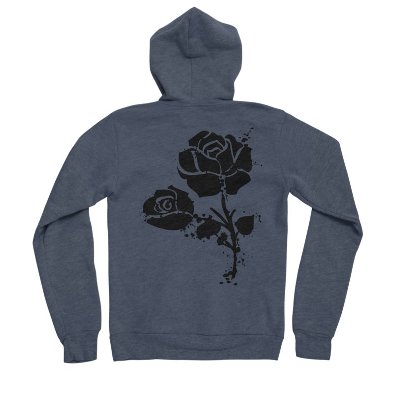 Black roses Women's Sponge Fleece Zip-Up Hoody by cindyshim's Artist Shop