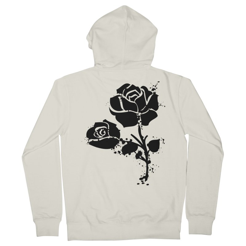 Black roses Men's French Terry Zip-Up Hoody by cindyshim's Artist Shop