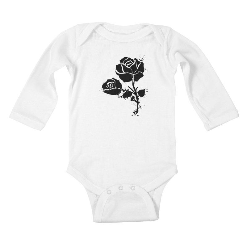 Black roses Kids Baby Longsleeve Bodysuit by cindyshim's Artist Shop