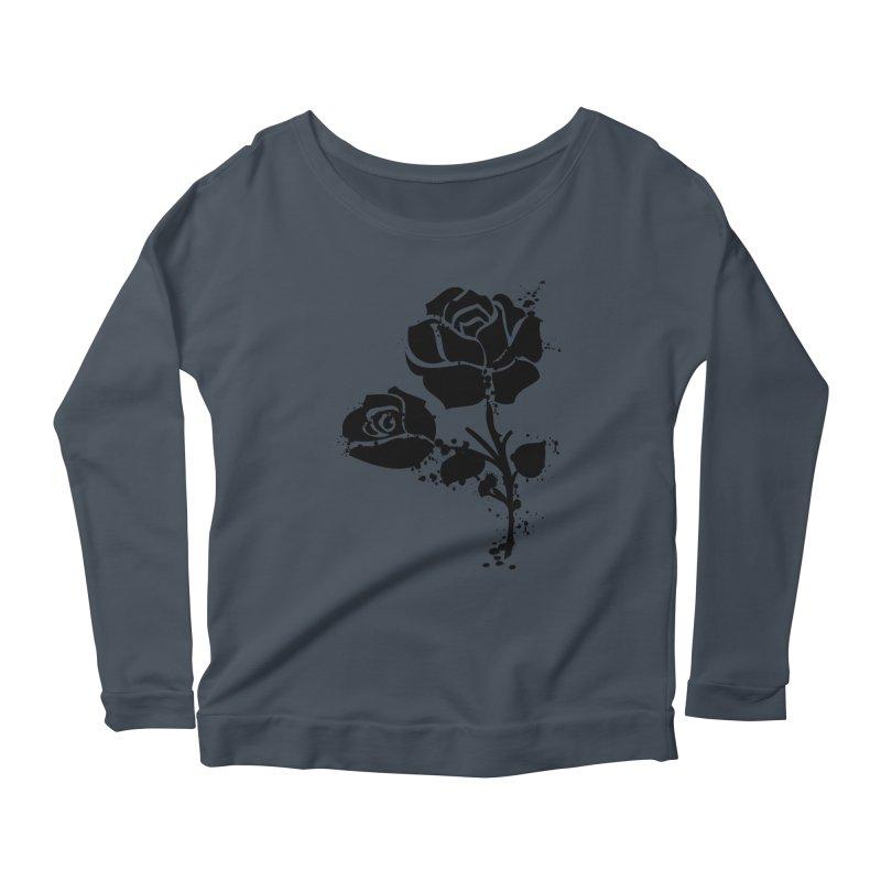 Black roses Women's Scoop Neck Longsleeve T-Shirt by cindyshim's Artist Shop