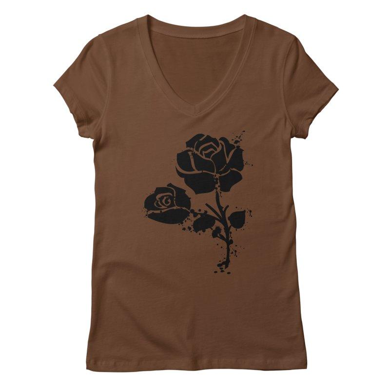 Black roses Women's Regular V-Neck by cindyshim's Artist Shop