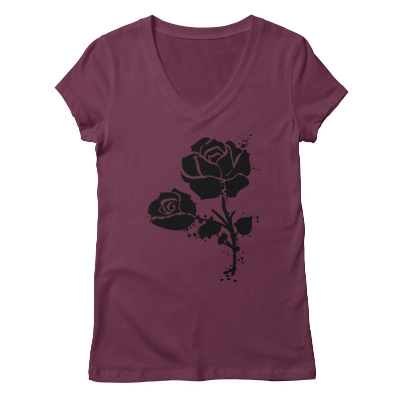 Black roses Women's Regular V-Neck by cindyshim's Artist Shop