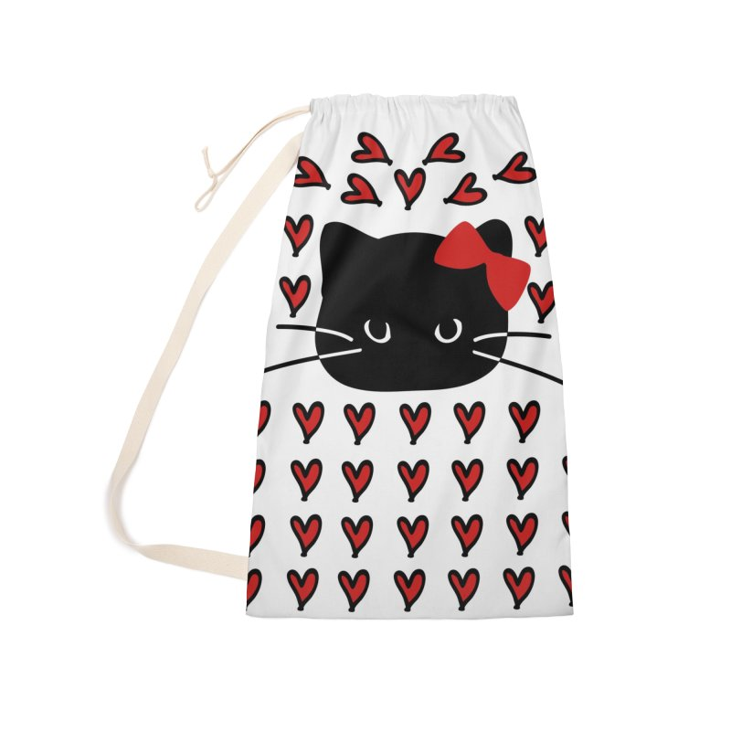Love Love Cat Accessories Laundry Bag Bag by cindyshim's Artist Shop