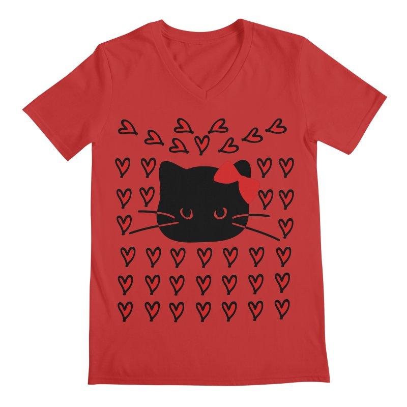 Love Love Cat Men's Regular V-Neck by cindyshim's Artist Shop