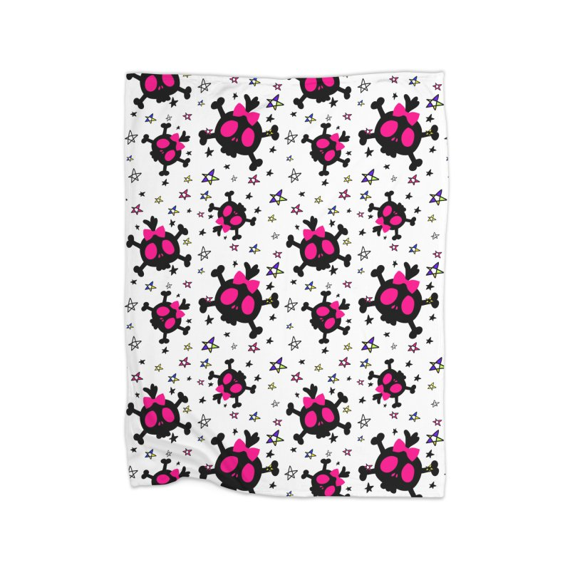 Cute skull Home Fleece Blanket Blanket by cindyshim's Artist Shop