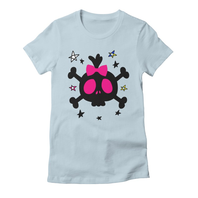 Cute skull Women's Fitted T-Shirt by cindyshim's Artist Shop