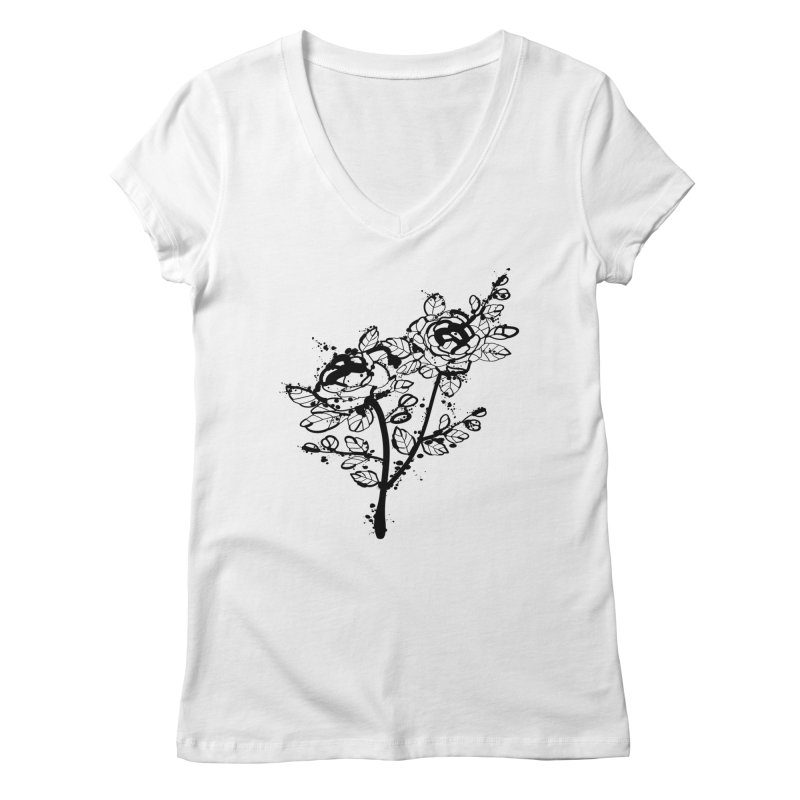 The roses Women's Regular V-Neck by cindyshim's Artist Shop