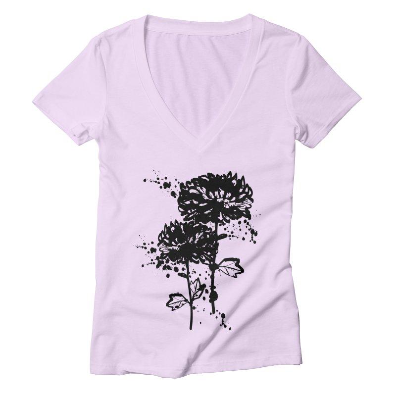 Chrysanthemum Women's Deep V-Neck V-Neck by cindyshim's Artist Shop