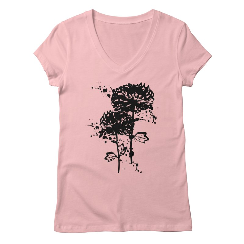 Chrysanthemum Women's Regular V-Neck by cindyshim's Artist Shop