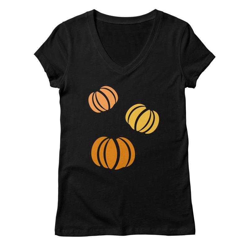 Pumpkins Women's V-Neck by cindyshim's Artist Shop