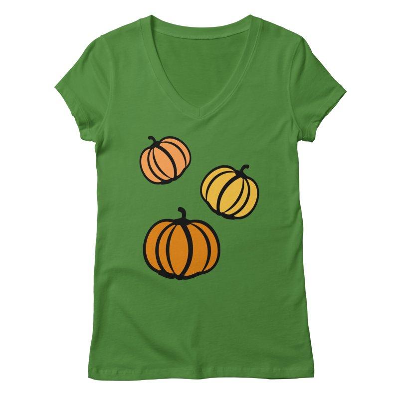 Pumpkins Women's Regular V-Neck by cindyshim's Artist Shop