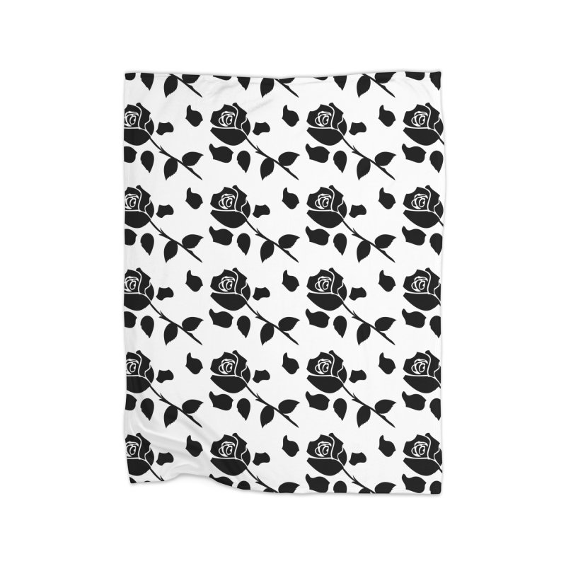 Black rose Home Fleece Blanket Blanket by cindyshim's Artist Shop