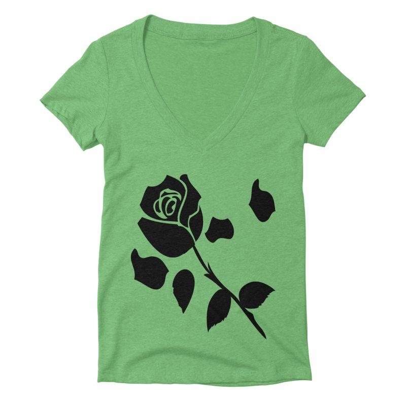 Black rose Women's Deep V-Neck V-Neck by cindyshim's Artist Shop