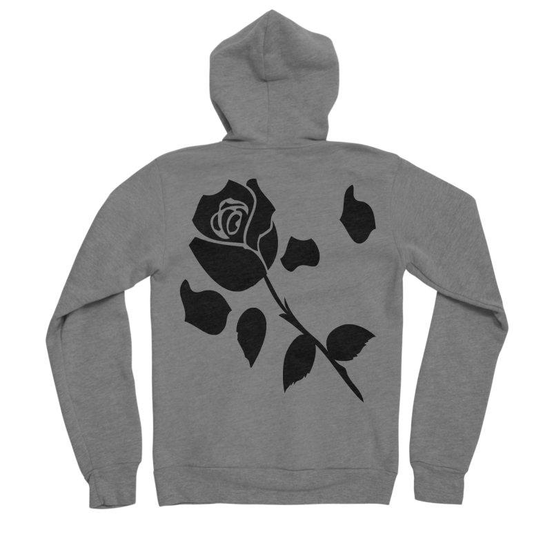 Black rose Men's Sponge Fleece Zip-Up Hoody by cindyshim's Artist Shop