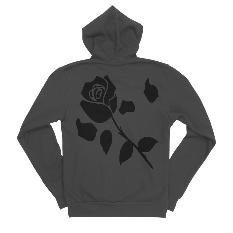 Black rose Women's Sponge Fleece Zip-Up Hoody by cindyshim's Artist Shop