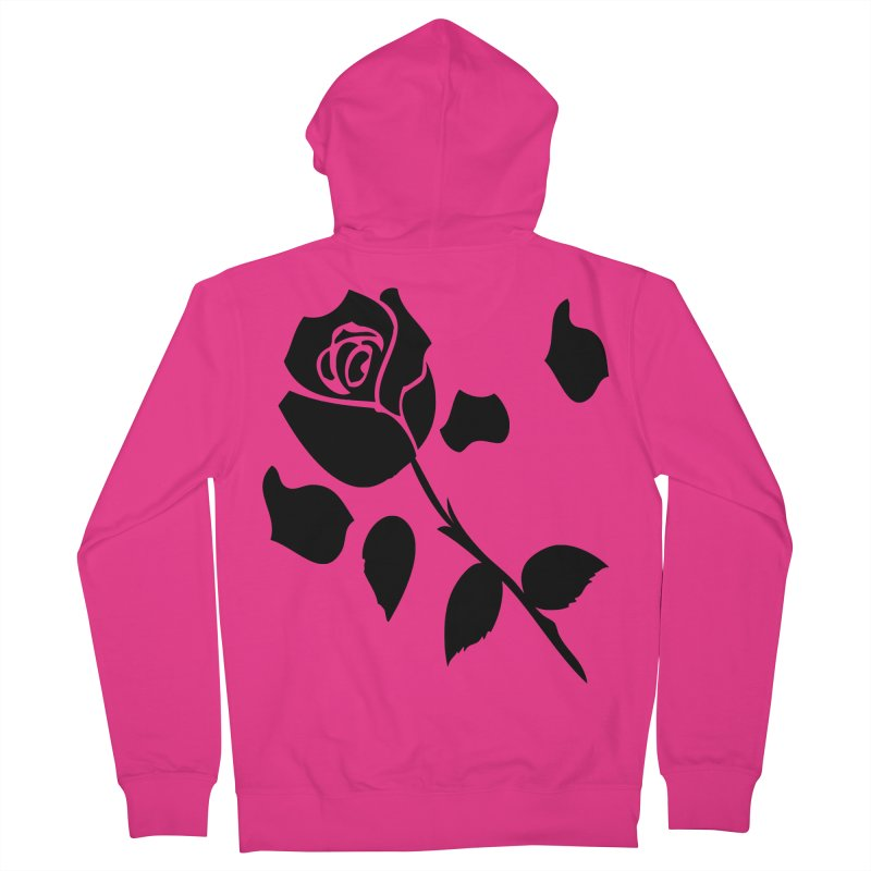 Black rose Men's French Terry Zip-Up Hoody by cindyshim's Artist Shop