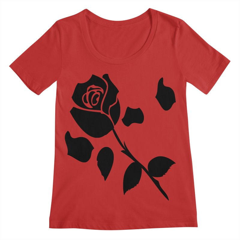 Black rose Women's Regular Scoop Neck by cindyshim's Artist Shop