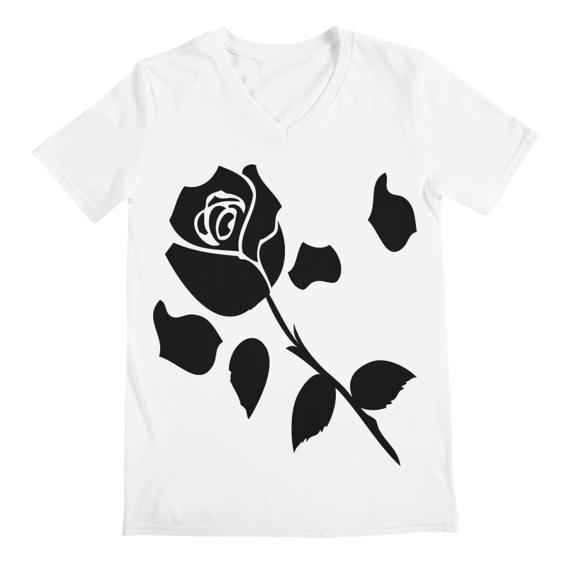 Black rose Men's Regular V-Neck by cindyshim's Artist Shop