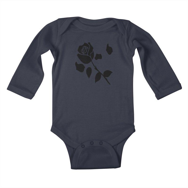 Black rose Kids Baby Longsleeve Bodysuit by cindyshim's Artist Shop