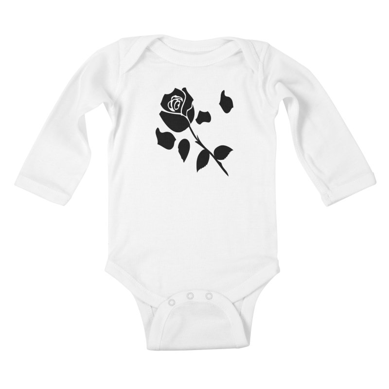 Black rose Kids Baby Longsleeve Bodysuit by cindyshim's Artist Shop