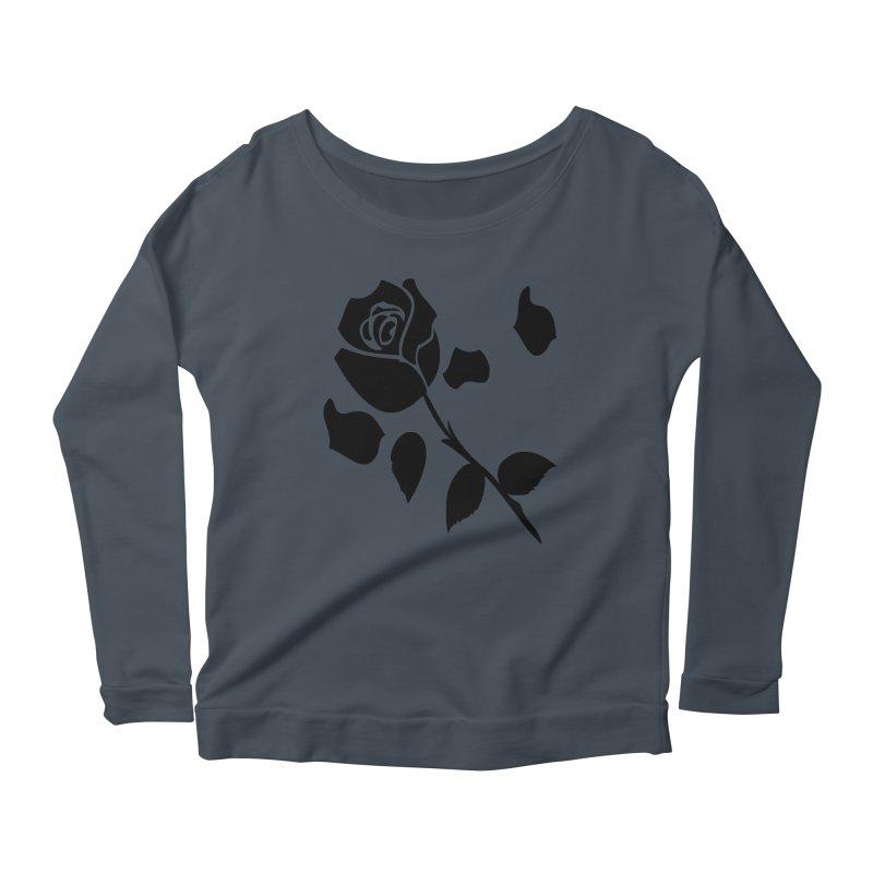 Black rose Women's Scoop Neck Longsleeve T-Shirt by cindyshim's Artist Shop