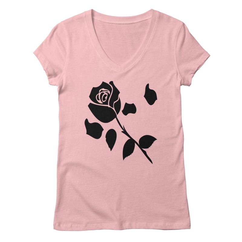 Black rose Women's Regular V-Neck by cindyshim's Artist Shop