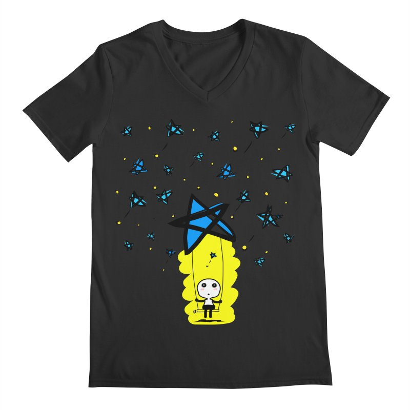 starry night dreamer boy Men's V-Neck by cindyshim's Artist Shop