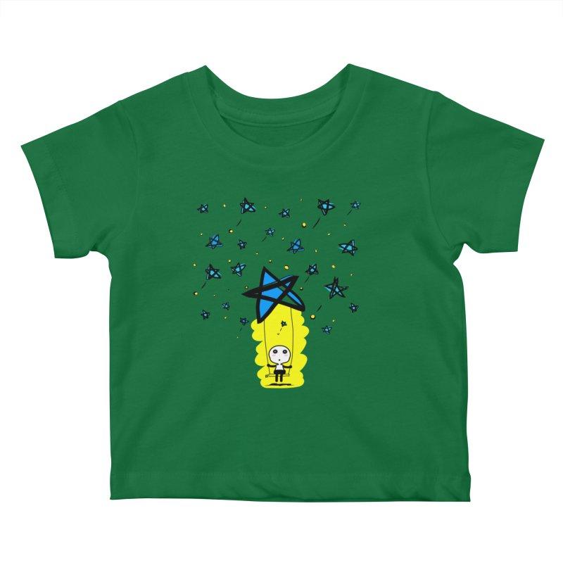 starry night dreamer boy Kids Baby T-Shirt by cindyshim's Artist Shop