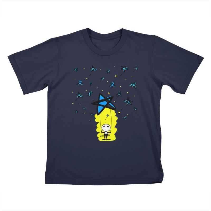 starry night dreamer boy Kids T-Shirt by cindyshim's Artist Shop