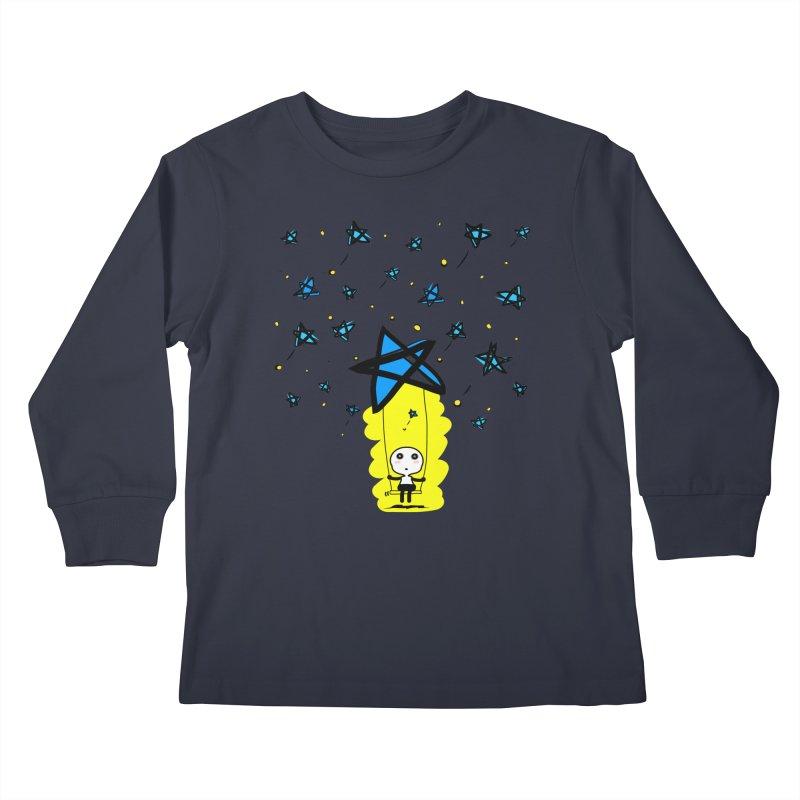 starry night dreamer boy Kids Longsleeve T-Shirt by cindyshim's Artist Shop