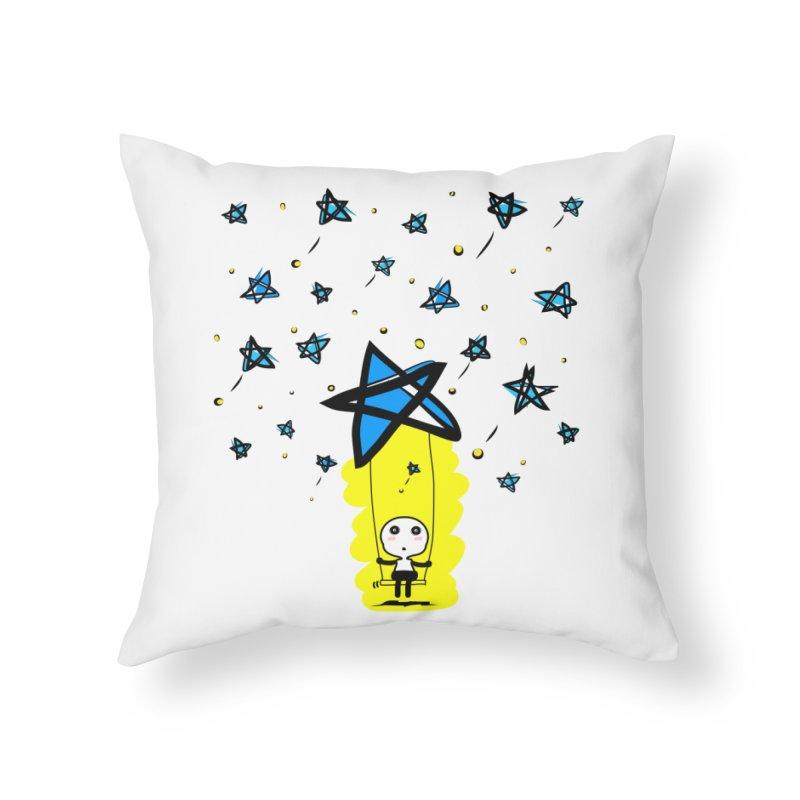 starry night dreamer boy Home Throw Pillow by cindyshim's Artist Shop