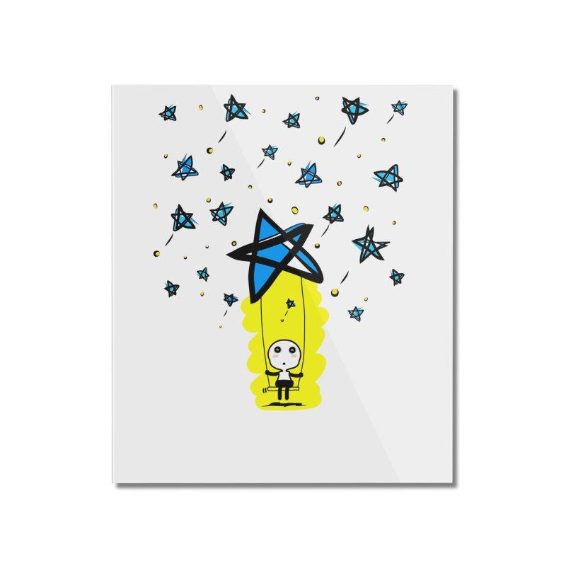 starry night dreamer boy Home Mounted Acrylic Print by cindyshim's Artist Shop