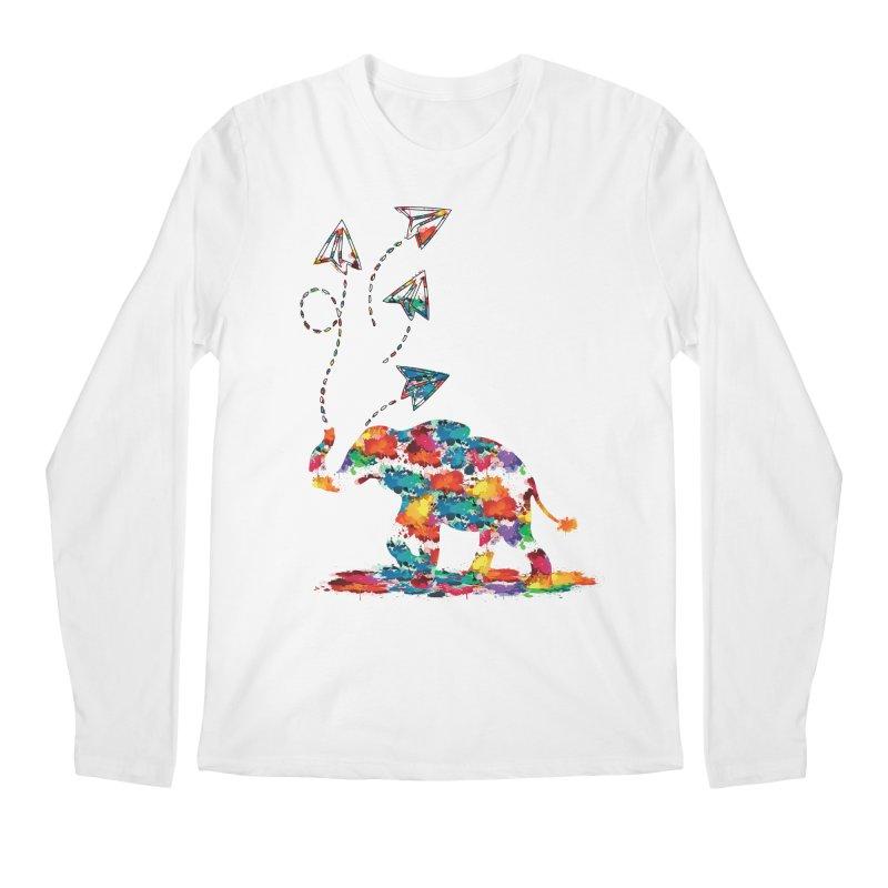 rainbows elephant  Men's Regular Longsleeve T-Shirt by cindyshim's Artist Shop