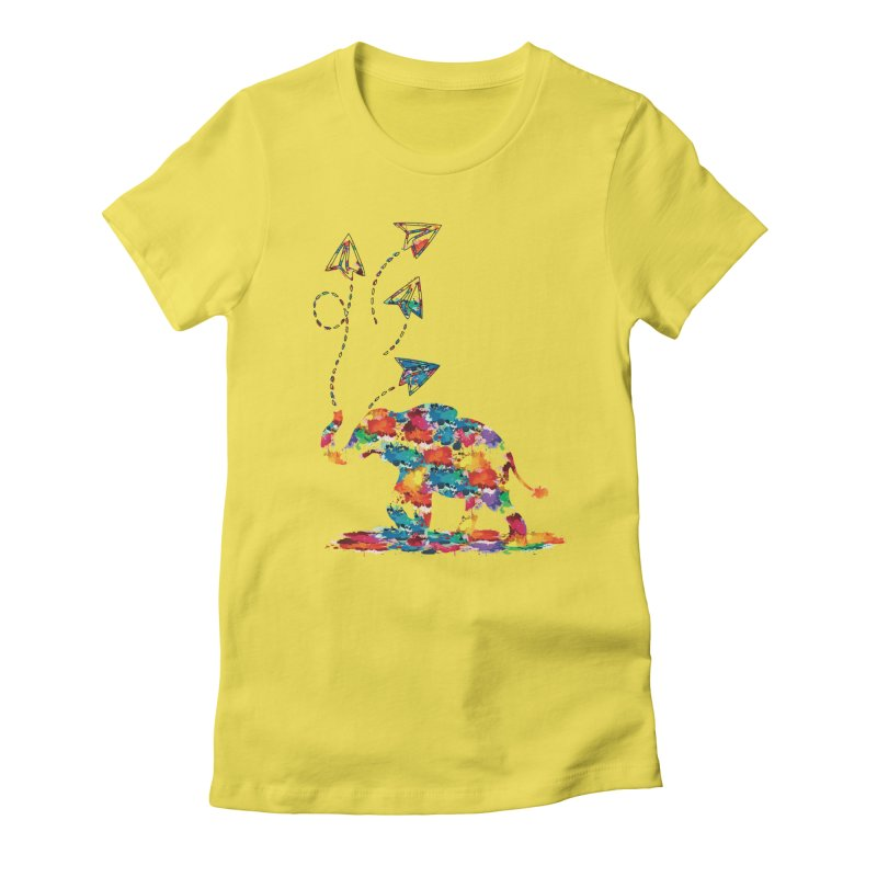 rainbows elephant  Women's Fitted T-Shirt by cindyshim's Artist Shop