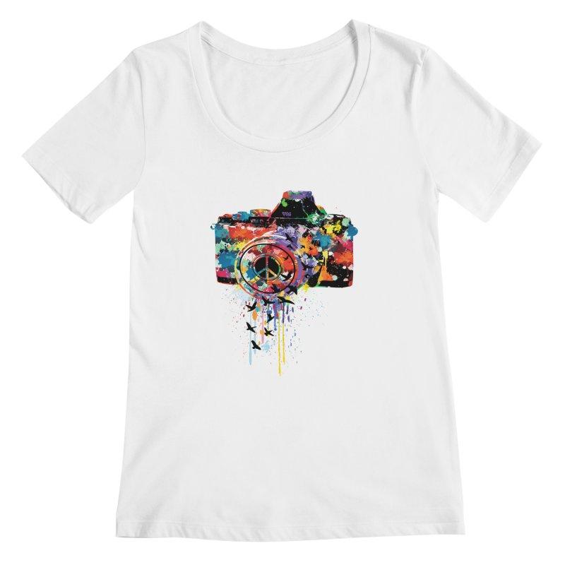 colorful DSLR Women's Scoopneck by cindyshim's Artist Shop