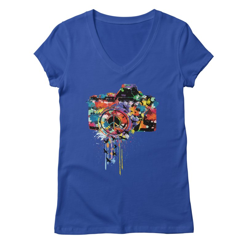 colorful DSLR Women's V-Neck by cindyshim's Artist Shop